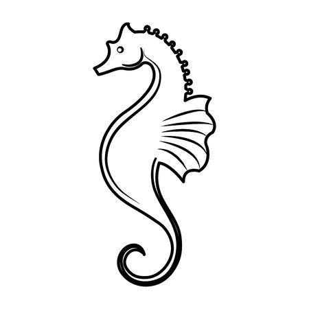 sea horse icon over white background. vector illustration Illustration