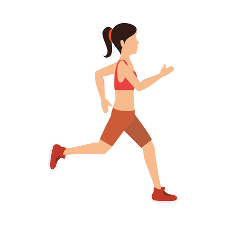 female athlete running avatar character vector illustration design