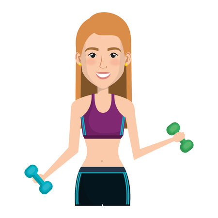 female athlete weight lifting avatar character vector illustration design Illustration
