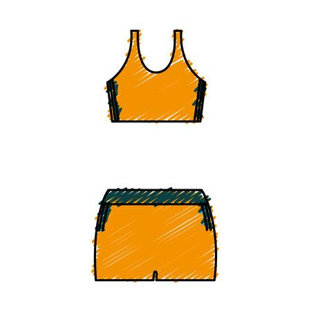女性スポーツ服アイコン ベクトル イラスト デザイン