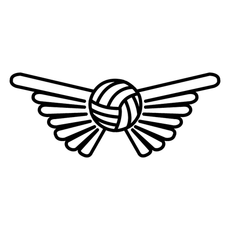 balon de voley: volleyball balloon with wings isolated icon vector illustration design Vectores