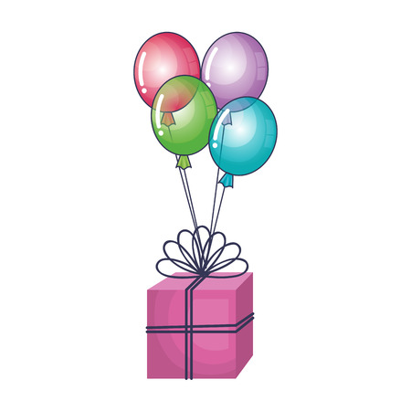 air: gift box present with balloons air vector illustration design Illustration