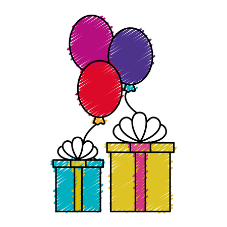 gift box present with balloons air vector illustration design Illustration