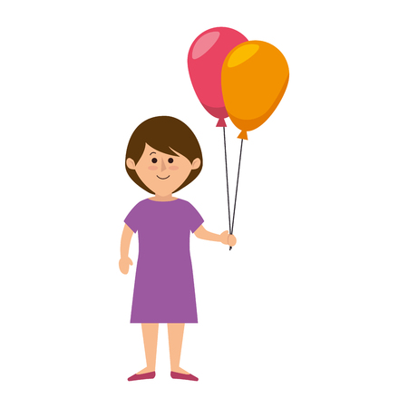 cute little girl character with balloons air vector illustration design