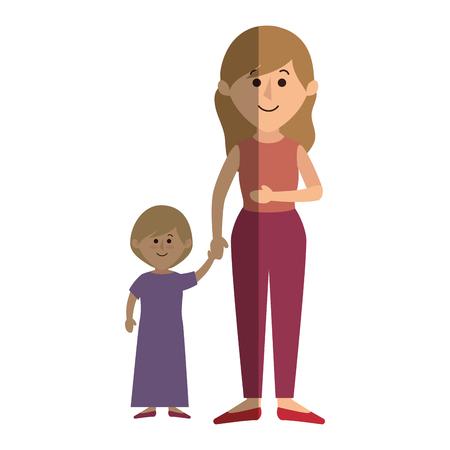 Mooie moeder met dochter avatar karakter vector illustratie ontwerp Stock Illustratie