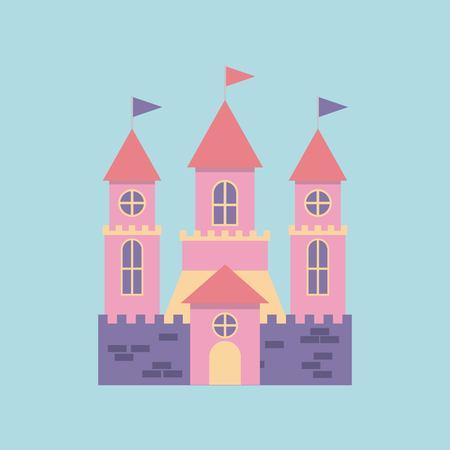Cute pink fantasy castle vector illustration design Stock Vector - 77094115