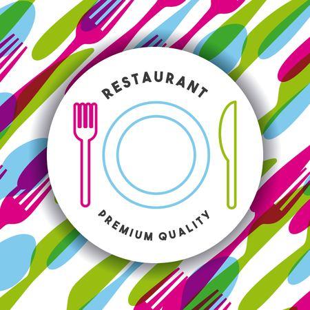 Menu restaurant with cutlery set vector illustration design