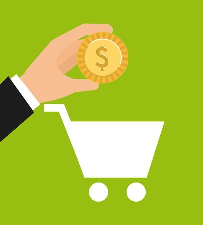 Cart shopping money icon vector illustration design