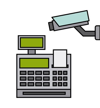 security camera with register machine vector illustration design