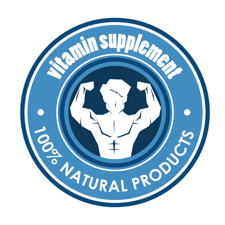 Vitamin supplement seal with strong man vector illustration design