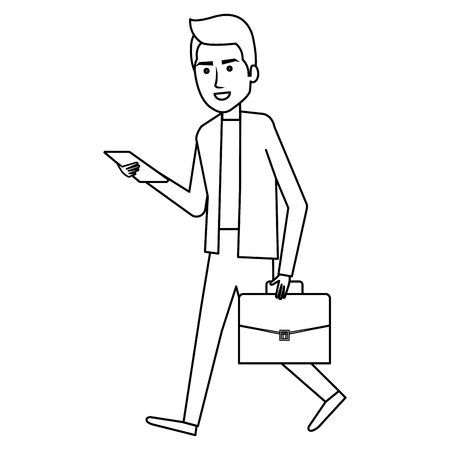 Businessman with smartphone avatar character icon vector illustration design