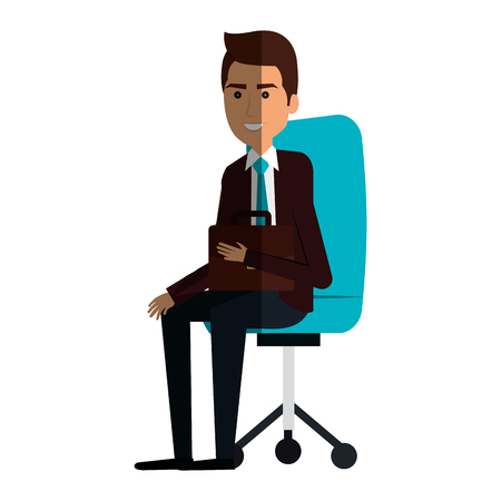 forniture: businessman in office chair avatar character icon vector illustration design