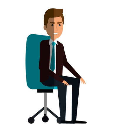 businessman in office chair avatar character icon vector illustration design