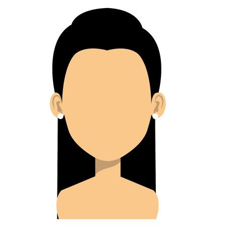 Jeune femme avatar torse nu caractère vector illustration design Banque d'images - 77106076