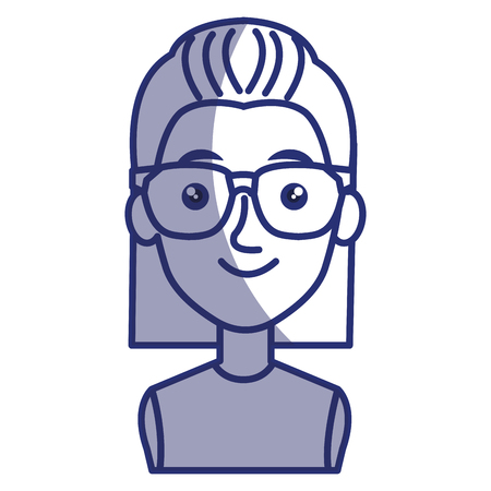 girl wearing glasses: young woman with glasses avatar character vector illustration design Illustration