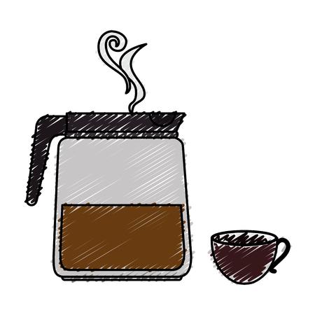Koffie theepot geïsoleerd pictogram vector illustratie ontwerp