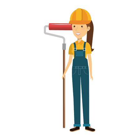 Construcción trabajador avatar carácter ilustración vectorial de diseño Foto de archivo - 77104327