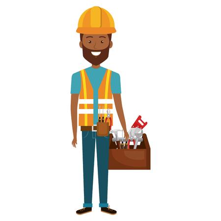 arquitecto caricatura: construction workman avatar character vector illustration design