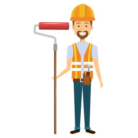Trabajador de la construcción avatar carácter de ilustración vectorial de diseño Foto de archivo - 77103087