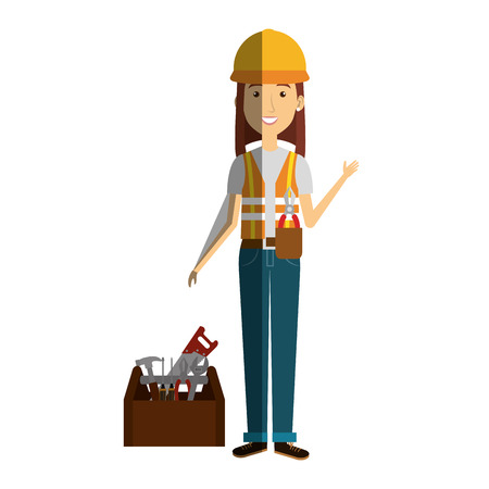 Construction worker woman avatar character vector illustration design.