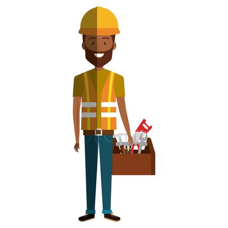arquitecto caricatura: Trabajador de la construcción carácter de avatar diseño de ilustración vectorial.
