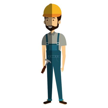 arquitecto caricatura: Construction workman avatar character vector illustration design.