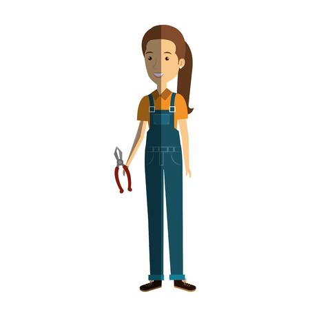 Trabajador de la construcción mujer avatar carácter ilustración vectorial diseño. Foto de archivo - 77104051