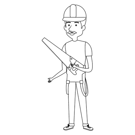 Construction workman avatar character vector illustration design.