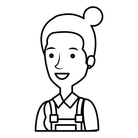 Trabajador de la construcción mujer avatar carácter ilustración vectorial diseño Foto de archivo - 77102799