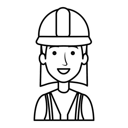Trabajador de la construcción mujer avatar carácter ilustración vectorial diseño Foto de archivo - 77102855