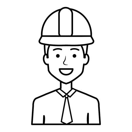 Diseñador de la construcción avatar carácter ilustración vectorial diseño Foto de archivo - 77102856