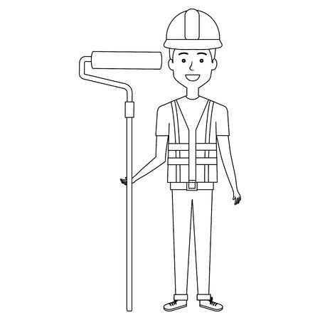 Trabajador de la construcción avatar carácter de ilustración vectorial de diseño Foto de archivo - 77104710