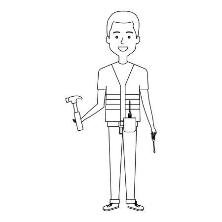 Diseñador de la construcción avatar carácter ilustración vectorial diseño Foto de archivo - 77105125