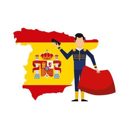 bullfighting classic icon of Spanish culture vector illustration design