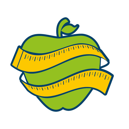 apple with measurement tape icon over white background. colorful design. vector illustration