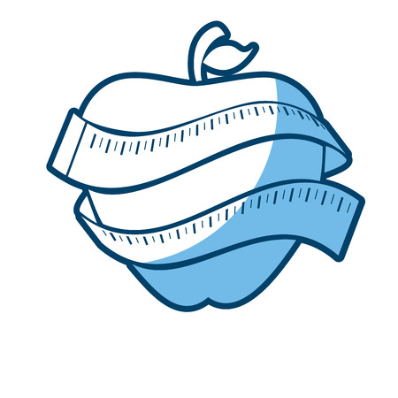 apple with measurement tape icon over white background. vector illustration Illustration