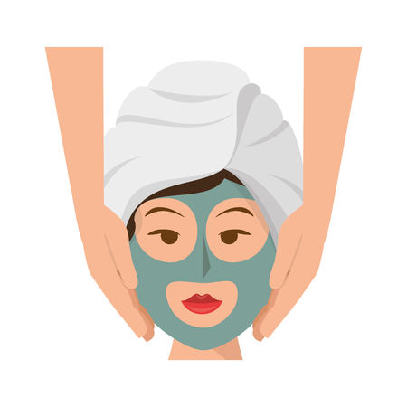 woman face with facial mask icon over white background. spa center concept. colorful design. vector illustration Illustration