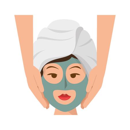 woman face with facial mask icon over white background. spa center concept. colorful design. vector illustration Ilustração