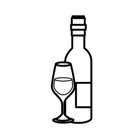 wine bottle and wineglass icon over white background. vector illustration Illustration