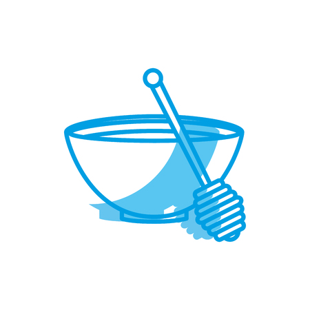 bowl with honey icon over white background. vector illustration