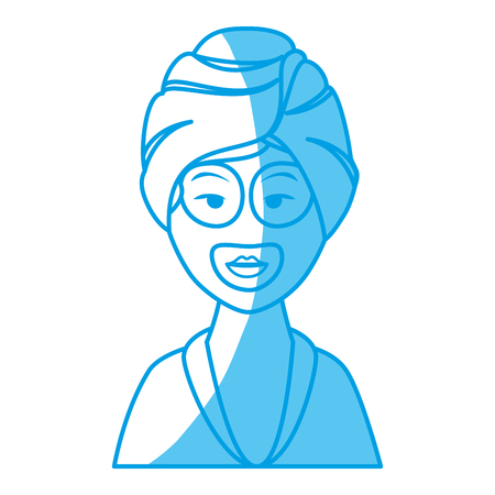 Woman With Towel Of Spa Center icon over white background. vector illustration