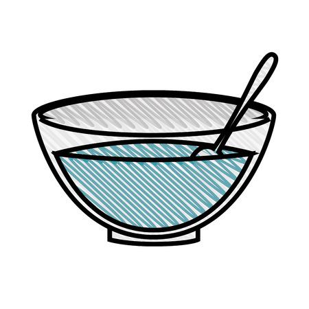 bowl with facial mask icon over white background. vector illustration Ilustração