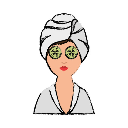 Woman With Towel Of Spa Center icon over white background. colorful design. vector illustration Çizim