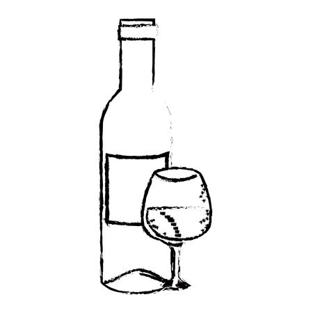 와인 병 및 흰색 배경 위에 와인 글라스 아이콘. 벡터 일러스트 레이 션