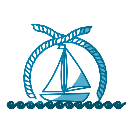 白い背景の上のヨットのアイコンとエンブレム。ベクトル図
