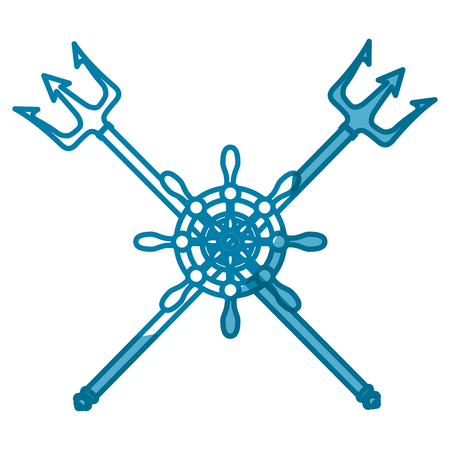 emblem with rudder wheel icon over white background. sea lifestyle concep. vector illustration Ilustração