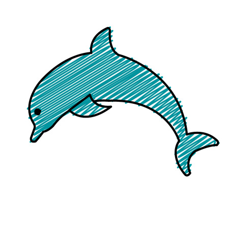 dolphin icon over white background. vector illustration