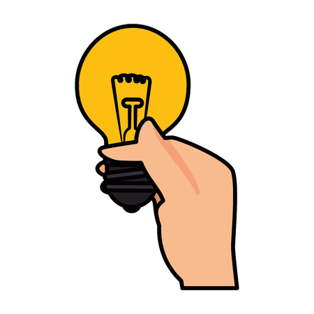 hand with bulb light icon over white background. colorful design. vector illustration