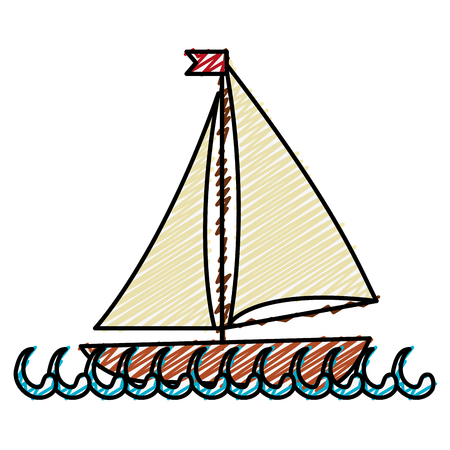 sailboat icon over white background. colorful design. vector illustration Illustration