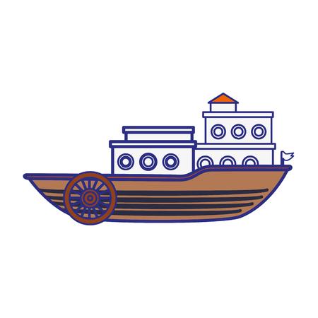 白い背景の上の古い船のアイコン。ベクトル図  イラスト・ベクター素材